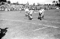 """Berlin, Germany, 1937, A hockey game at the """"Bar-Kochba"""" international sports games with the participation of """"Hakoach Vienna"""". The games took place at the Grunewald field and included soccer, handball and hockey."""