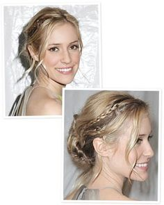 Tiny braids twist into second-day hair, so skip the shampoo and pull out a few face-framing tendrils the undone appearance keeps her updo from looking to coiffed or ready for prom Pretty Hairstyles, Easy Hairstyles, Wedding Hairstyles, Bridesmaid Hairstyles, Second Day Hairstyles, Different Hairstyles, Mermaid Hair, Hair Dos, Prom Hair