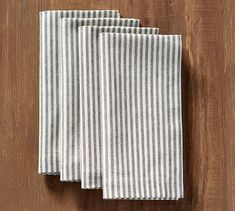 Thin stripes bring a casual accent to a table setting and mix well with a variety of patterns. Our Wheaton Stripe Napkins are inspired by textiles found in the French countryside and are yarn-dyed for color that's soft and subtle, yet wil Printed Napkins, Cotton Napkins, Linen Napkins, Cloth Napkins, Napkins Set, Rustic Napkins, Diy Throw Pillows, Linen Stitch, Striped Table Runner