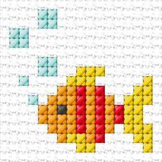17 x 17 stitches Fish x-stitch 10 Free Patterns Online Tiny Cross Stitch, Easy Cross Stitch Patterns, Cross Stitch For Kids, Cross Stitch Bookmarks, Cross Stitch Cards, Cross Stitch Animals, Cross Stitch Designs, Cross Stitching, Cross Stitch Embroidery