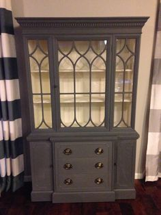 Cherry China hutch upgrade with Annie Sloan chalk paint- 50/50 graphite and French linen exterior, old white interior.
