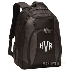 Monogrammed Black Laptop Backpack from Marleylilly.com! #monograms #bookbag #marleylilly