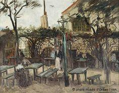 Vincent van Gogh (Dutch, Post-Impressionism, 1853-1890): Terrace of a Cafe on Montmartre (La Guinguette), 1886. Oil on canvas. Musée d'Orsay, Paris, France.  Monet, Renoir, Pissarro, Cézanne, Toulouse-Lautrec, and countless other artists frequented this Montmartre café. The café is still there today and is known as 'Auberge de la Bonne Franquette.'