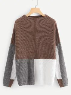 SheIn offers Dark Grey Round Neck Ribbed Trim Asymmetrical Sweater & more to fit your fashio Scarf Vest, Asymmetrical Sweater, Color Block Sweater, Funnel Neck, Hooded Sweater, Knitwear, Autumn Fashion, Sweaters For Women, Clothes