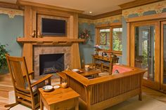 Beautiful Nature Wood Furniture in Your House: Warm Craftsman Family Room Showing Wooden Sofa And Chair Frame With Comfortable Patterned Cus. Craftsman Living Rooms, Craftsman Interior, Craftsman Furniture, Craftsman Style Homes, Craftsman Bungalows, Wood Furniture, Mission Furniture, Best Gray Paint, Style Artisanal