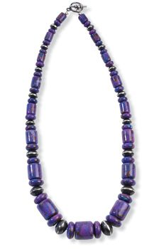 """Purple Cross Big Beads Necklace  Crow's Nest Exclusive. The color purple is often linked to spirituality. Unique, dyed, Kingman turquoise is infused with bronze and set in hand-stamped sterling silver. Vintage Revival. Item ships directly from supplier in 4-6 weeks. Made in the USA. 22"""" l  $450.00"""