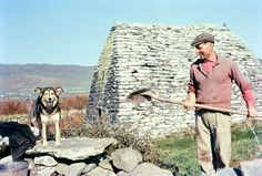 One man and his dog. Love this image of Seamus Johnson and his dog at Gallarus Oratory, Co. Kerry, Ireland which was taken in c. 1960. Seamus was the caretaker of the ancient church