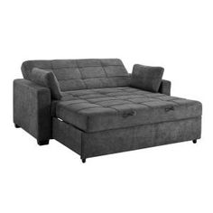 The versatile Halton Convertible Sofa by Serta offers 3 seat functions. Serves as a sofa, a lounger and a pullout queen-size bed for overnight guests. This comfortable couch features a sturdy wood frame, wood legs and exception support and comfort. Murphy-bett Ikea, Cama Ikea, Desks Ikea, Sofa Design, Sofa Bed For Small Spaces, Queen Size Sofa Bed, Queen Futon, Pull Out Sofa Bed, Grey Sofa Bed