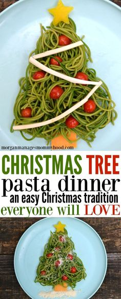 Your family will love this Christmas tree pasta dinner and you'll love how simple this holiday recipe is! fun kid food, christmas recipe, holiday recipe, fun christmas food, christmas themed food