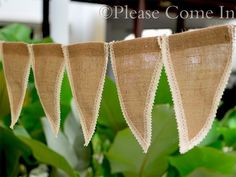 3.2mtrs Burlap Hessian Crochet Lace Bunting Country Vintage Wedding Decorations