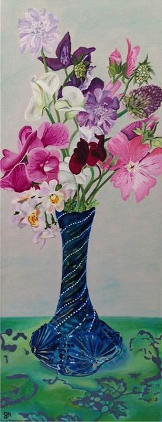 French Blue Vase and Flowers