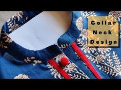 Dress Neck Designs, Kurti Neck Designs, Clothing Patterns, Sewing Patterns, Collar Kurti, Sewing Tutorials, Video Tutorials, Churidar, Indian Designer Wear