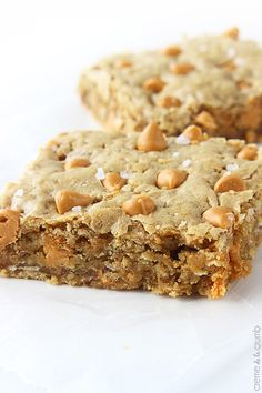 Oatmeal Butterscotch Blondies - Made with coconut flakes and granulated sea salt. They sound delicious!