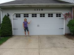How-to: entirely FAKE carriage garage doors...painted on windows and hardware!!!