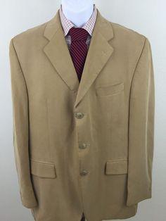 Men's Elegant Ralph Lauren Dillards Blazer 41R 100% Tencel Beige 3 button soft  #LaurenRalphLauren #ThreeButton