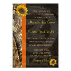 Camo & Sunflowers Wedding invitations
