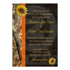 Camo & Sunflowers Wedding invitations