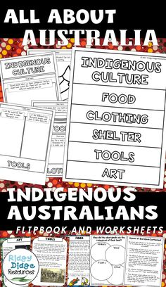 All About Australia: Indigenous Australians Flipbook, Worksheets and Factsheets. Ready to print for your classroom studies on Australia's indigenous peoples. Aboriginal Education, Indigenous Education, Aboriginal Culture, Naidoc Week Activities, Australian Curriculum, Teaching Resources, Teaching Ideas, Human Resources, Home Schooling