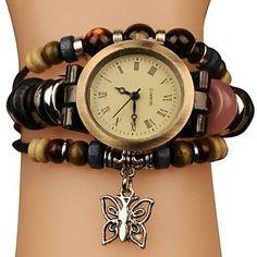 Frauen Vintage Style Schmetterling Anhänger Lederband Quarz-Armband-Uhr – EUR € 9.19