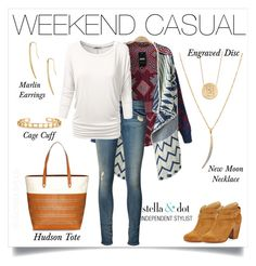 """Casual weekend wear. #stelladotstyle #hudsontote #newmoonnecklace"" by cathy-bartlett on Polyvore featuring Stella & Dot, rag & bone, rag & bone/JEAN, J.TOMSON, women's clothing, women's fashion, women, female, woman and misses"