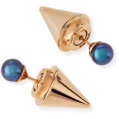 Vita Fede Double Titan Pearl Earrings ($540) ❤ liked on Polyvore featuring jewelry, earrings, grey pearl earrings, double-sided earrings, pearl earrings, two sided earrings and pearl jewelry