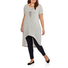 Plus Size Loyal Threads Juniors' Plus Marl Short Sleeve Hi Lo Tunic, Size: 3XL, Gray