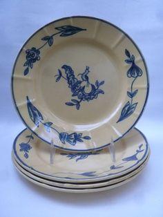 Egersund FayenceFabrik Norway Stavanger, Scandinavian Design, Norway, Yellow, Blue, Pottery, China, Plates, Ceramics