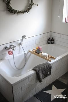 Makeover Badezimmer in grau und weiß- Eucalyptus Kranz xxl