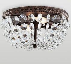 My So-Called DIY Blog: DIY Pottery Barn Mia Faceted-Crystal Flushmount/ Refab a Boob Light