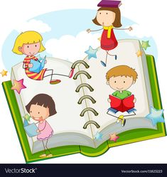 Children reading books together Royalty Free Vector Image Cute Images, Cute Pictures, Kids Reading Books, Mandala Elephant, Goodie Bags, Vector Free, Books To Read, Childhood, Clip Art