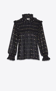 Saint Laurent Smocked Blouse In Black Silk With Gold Diamond Shapes   YSL.com