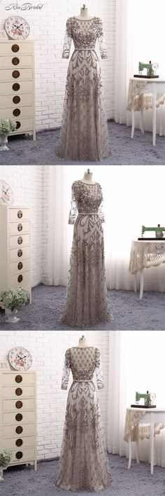Abendkleider Grey Evening Dresses Long A Line Scoop Long Sleeve Crystal  Beaded Formal Party Prom Gown 3c8bae908c81