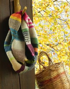 love the color combos knitted scarf