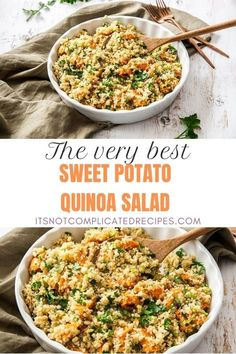 Learn how to make this delicious Sweet Potato Quinoa Salad. This gluten-free and vegan salad is flavoursome and so easy to prepare. Ideal lunch or side dish. Head to the blog to get more details and the recipe. Sweet Potato Quinoa Salad #quinoasalad #quinoarecipes #glutenfreesalad #sweetpotatorecipes #saladrecipes #easyrecipes #appetizerrecipes #itsnotcomplicatedrecipes #cravecookconsume itsnotcomplicatedrecipes.com Appetizer Recipes, Salad Recipes, Sweet Potato Quinoa Salad, Sweet Potato Recipes, Light Recipes, Main Meals, Side Dish, Cooking Recipes, Gluten Free
