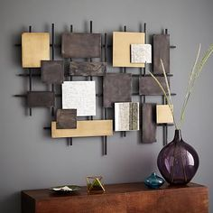 Metal + Mirror Wall Art #westelm Another option to use in the alcoves with the sofas.