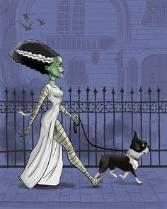boston terrier art, print bride of Frankenstein, walking a boston terrier, Boston Terrier gift, movi Boston Terrier Kunst, Boston Terrier Love, Boston Terriers, Terrier Puppies, Chihuahua Dogs, Terrier Mix, Bulldog Puppies, Pet Dogs, The Munsters
