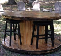 Re-purposed Wire Spool Table. Hand sanded smooth, multiple coats of clear spar-urethane. Made to order, additional stains and finishes Wooden Spool Tables, Cable Spool Tables, Wooden Cable Spools, Wood Spool, Cable Spool Ideas, Spools For Tables, Pub Tables, Cable Reel Table, Spool Crafts