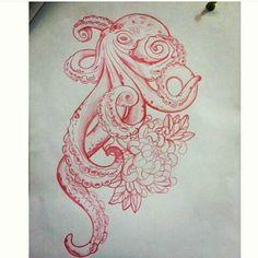 Octopus with flowers Octopus Tattoo Sleeve, Octopus Tattoo Design, Octopus Tattoos, Leg Tattoos, Flower Tattoos, Body Art Tattoos, Tattoo Drawings, Tribal Tattoos, Sleeve Tattoos