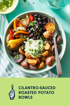Is there anything better than a bowl of crispy baby potatoes slathered in a creamy cilantro sauce? We sure don't think so. This delicious medley combines sweet onions, juicy peppers, hearty black beans, and Southwest spices—all to be topped off with that tangy, herbal sauce. Totally oil-free, you can enjoy this colorful recipe for any meal of the day. Loaded Baked Potatoes, Roasted Potatoes, Roasted Jalapeno, Vegan Casserole, Cilantro Sauce, Cooking Courses, Free Meal Plans, Baby Potatoes, Food Science