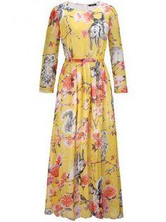 Plus la taille en mousseline de soie imprimé floral robe maxi à manches longues chez Banggood