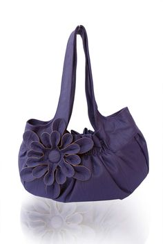 Leather Handbag / Purse / Shoulder Bag with Stylish Flower Applique - Purple, Pleated with Double Straps, Afamia, $55