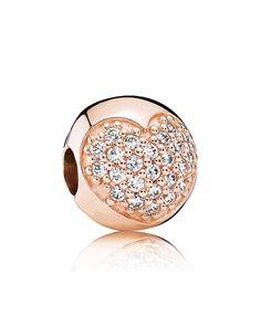 Pandora Rose Pave Heart Clip Charm Clearance
