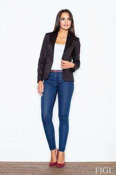 Classic buttoned jacket in black Jacket Buttons, Black Button, Blazers For Women, Vest Jacket, Short Dresses, Swimsuits, One Piece, Plus Size, Spandex