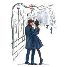 Want this watercolor so badly--I LOVE winter, and the couple reminds me of Alex & me! Perfection. Xoxox