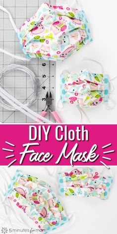 DIY Face Mask Pattern - How To Make A Cloth Face Mask Watch how to make a cloth face mask. Use this DIY face mask pattern and video tutorial to make homemade masks for your family or to donate. Homemade Face Masks, Diy Face Mask, Easy Knitting Projects, Sewing Projects, Sewing Tips, Sewing Crafts, Fabric Crafts, Sewing Ideas, Diy Projects