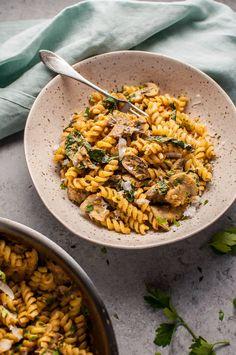 Pumpkin, Mushroom, and Spinach Pasta