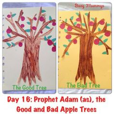 P.Adam and B.Hawa Stick shapes and random pieces to make trees,  a good tree with apples representing things that we should do a bad tree with apples representing things we should avoid