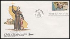 C116 / 44c Father Junipero Serra Airmail Gill Craft 1985 FDC First Day Covers, Airmail, One Day, Stamps, Father, Memes, Crafts, Seals, Pai