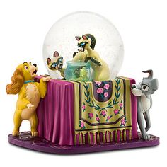 Lady and the Tramp with Si and Am Disney Snowglobe