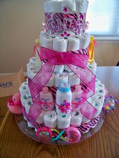 Deluxe Princess Diaper Cake with lots of diapers by babycakesbyann, $58.00